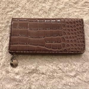 Ivanka Trump Faux Crocodile Zippered Wallet Tan